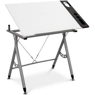 Gymax Adjule Drafting Table Art Craft Station Drawing Desk Folding W Side Tray