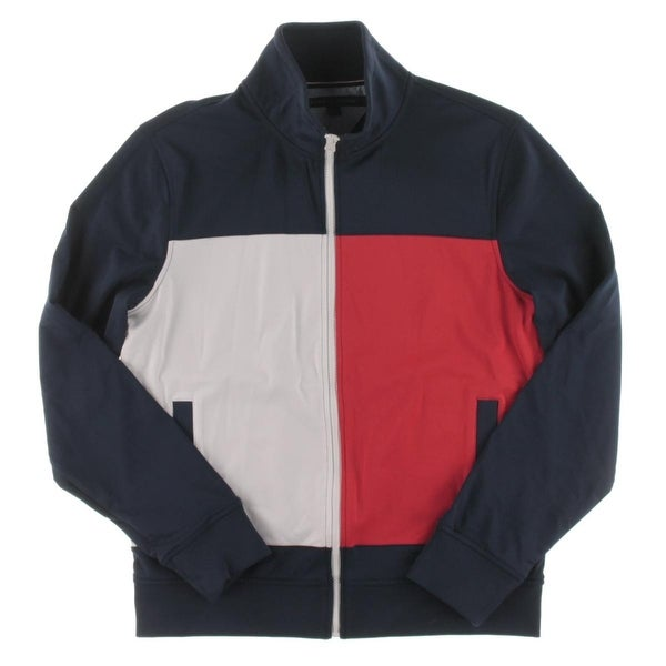 cee76b29d Shop Tommy Hilfiger Mens Track Jacket Colorblock Stand Collar - M - Free  Shipping Today - Overstock - 19581622