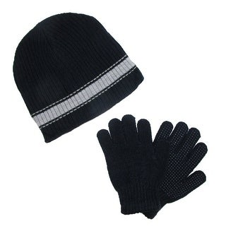 CTM® Boys' & Teens' Ribbed Knit Hat and Glove Winter Set