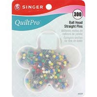 Size 17 300/Pkg - Quiltpro Ball Head Straight Pins In Flower Case