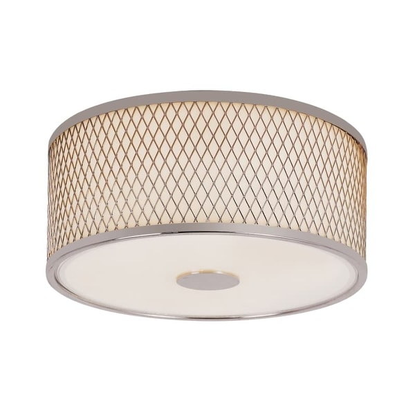 Trans Globe Lighting 10140 2 Light Round Flush Mount Ceiling Fixture with Frosted Shade and Diamond Frame
