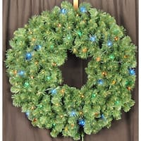 Christmas at Winterland WL-GWSQ-04-L5M 4 Foot Pre-Lit Multicolor LED Sequoia Wreath - N/A