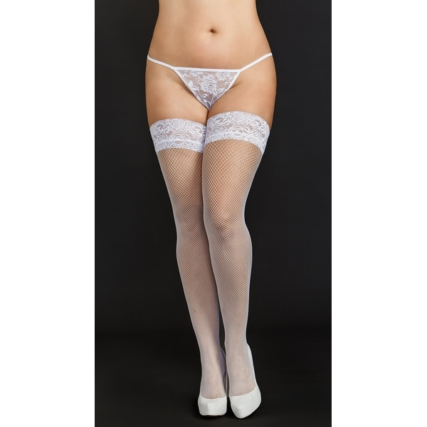 9ef9855d22de5 Shop Plus Size Mini Diamond White Fishnet Thigh Highs, Plus Size Lace Thigh  High Stockings - XLarge - Free Shipping On Orders Over $45 - Overstock - ...