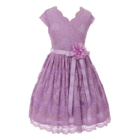 4717e69b6e Girls Lilac Flower Border Stretch Lace Stylish Special Occasion Dress