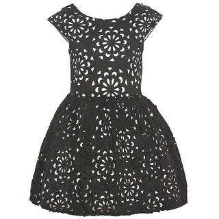 Rare Editions Girls Black White Floral Pattern Short Sleeved Dress