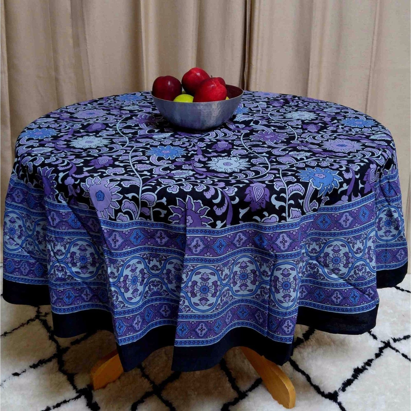 "Handmade Sunflower Print 100% Cotton Tablecloth 60""x60"" Square & 66"" Round in Two shades - Yellow Black & Blue Black - Thumbnail 0"