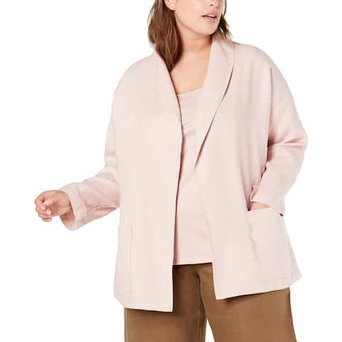 Eileen Fisher Womens Plus Jacket Linen Shal - Powder - 2X