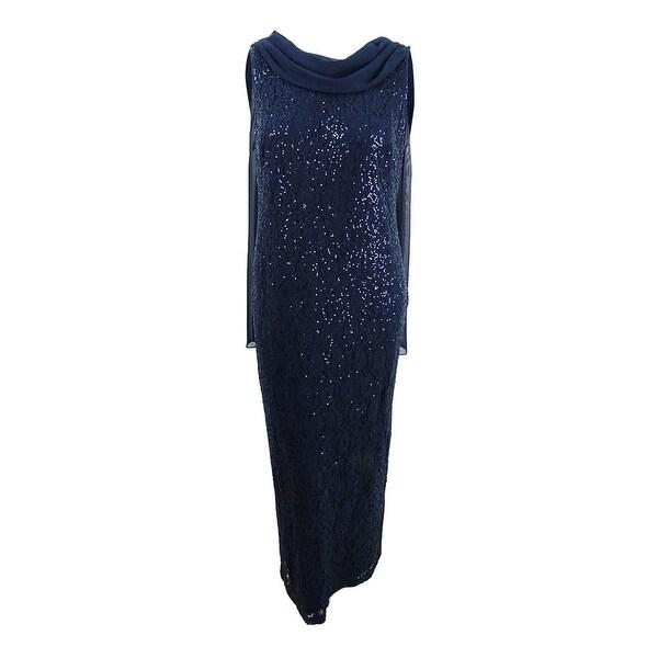 SL Fashions Women\'s Plus Size Lace Sequin Dress - Navy
