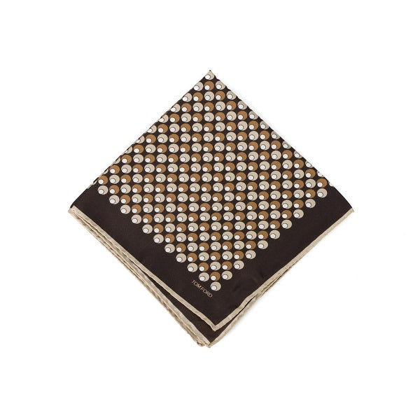 Tom Ford Dark Brown Tonal Double Circle Silk Pocket Square