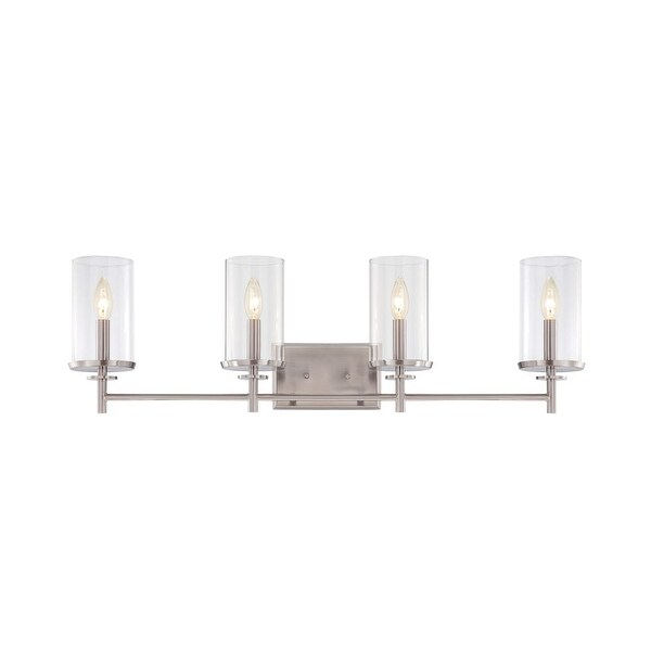 Designers Fountain 87204 Harlowe 4 Light Bathroom Vanity Light - satin platinum