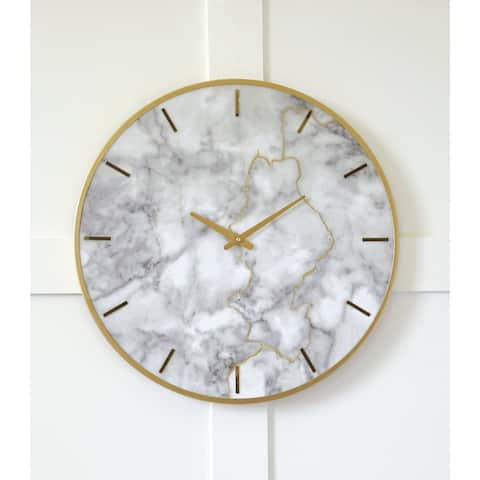 """Jazmin Contemporary Glam White/Gold Wall Clock - 23.6"""" W x 2"""" D x 23.6"""" H"""