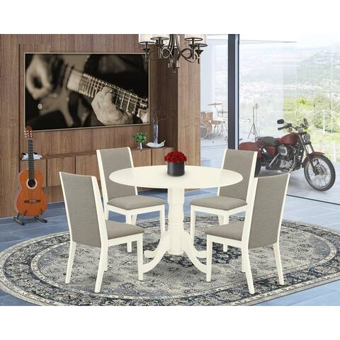 East West Furniture 5-Piece Dining Room Table Set - Dining Room Table and 4 Dining Room Chairs (Color Option)