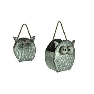 Rustic Galvanized Metal Owl Planters with Rope Handle Set of 2 - 11.5 X 10.25 X 6 inches
