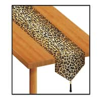 Club Pack of 12 Black, Brown and Tan Leopard Print Table Runners with Tassel 6'