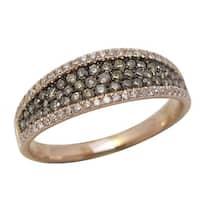 Prism Jewel 0.44Ct Brown Color Diamond & Natural Diamond Wedding Band, Rose Gold - White G-H