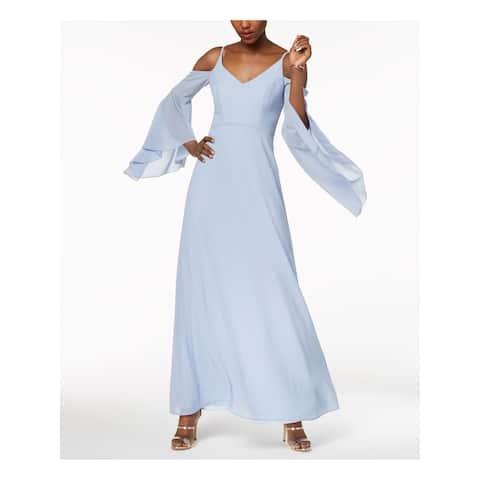 BETSY & ADAM Womens Light Blue Bell Sleeve Maxi Formal Dress Size 10