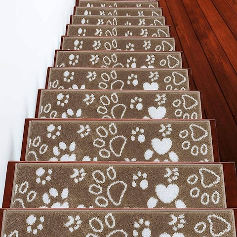 "SUSSEXHOME Paw Collection Stair Treads Polypropylene 9""x28"""