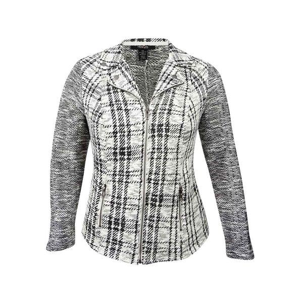 0e66eb1d24 Shop Style   Co. Women s Plus Size Jacquard Plaid Jacket (0X ...