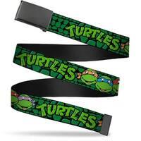Blank Black  Buckle Classic Teenage Mutant Ninja Turtles Group Faces Web Belt