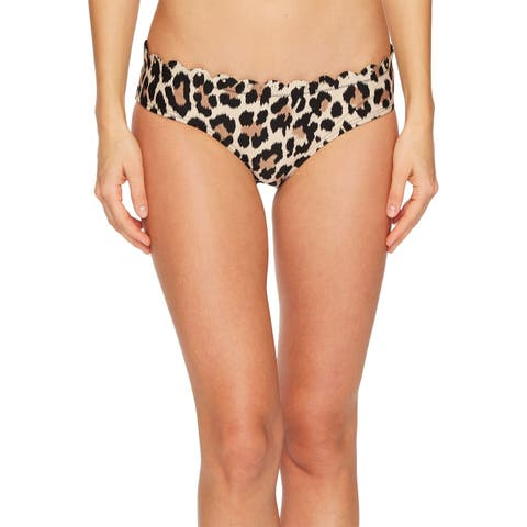 Kate Spade Brown Womens Size XL Leopard Bikini Bottom Swimwear