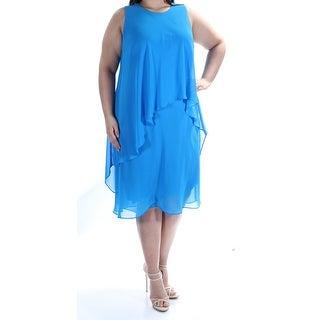 RALPH LAUREN $155 Womens 1135 Blue Shift Dress 16W Plus B+B