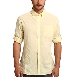 John Varvatos Shirt Medium M Slim Fit Yellow Cotton Button-Down Long Sleeves