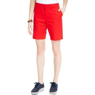 Tommy Hilfiger Womens Bermuda, Walking Shorts Twill Flat Front