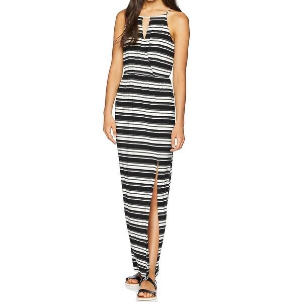 BCX Black Size Large L Junior Stripe Halter Surplice Neck Maxi Dress