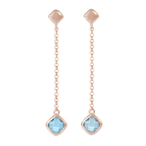 Forever Last 18 k Gold Overlay Blue Topaz Dangle Earrings