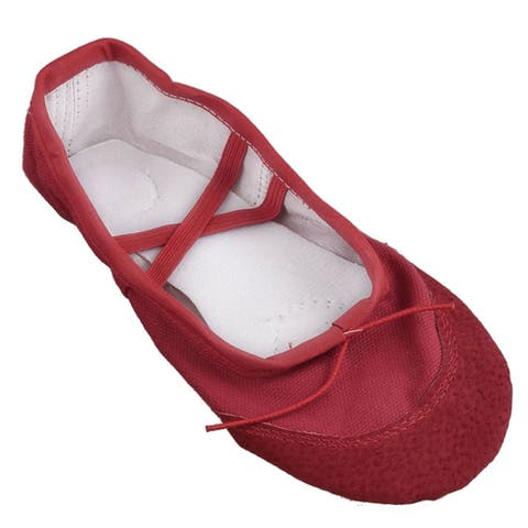 Red Soft Canvas Elastic Bands Flat Ballet Dancing Shoes US Size 13