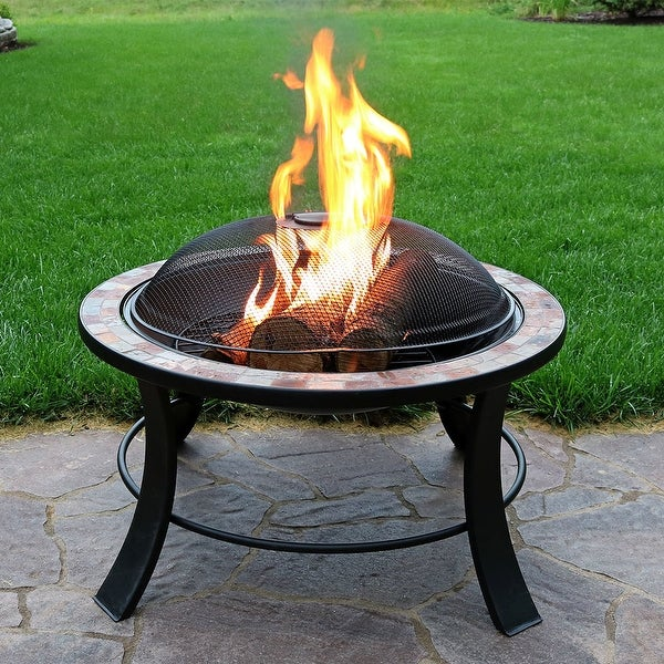 Sunnydaze 30-Inch Natural Slate Fire Pit Table with Spark Screen - Wood Burning