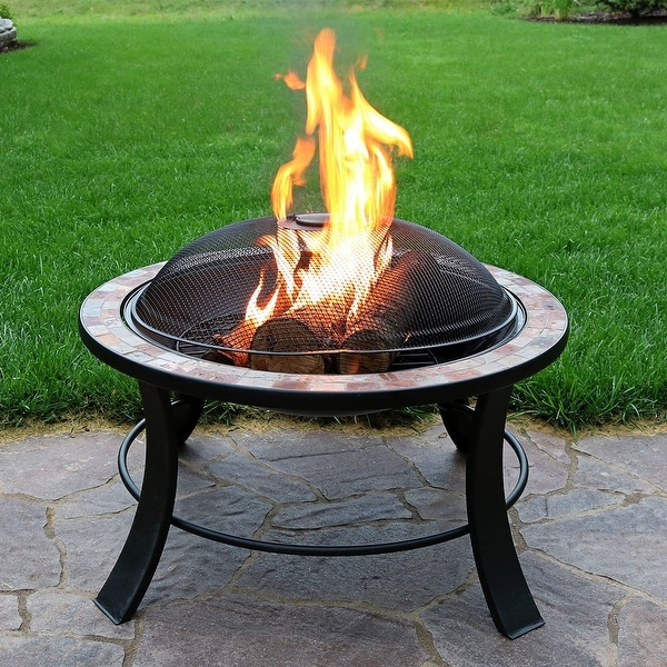 Shop Sunnydaze Inch Natural Slate Fire Pit Table With Spark - 30 inch fire pit table