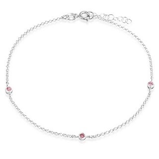Bling Jewelry 925 Sterling Silver Pink Round Crystal Ankle Bracelet Anklet