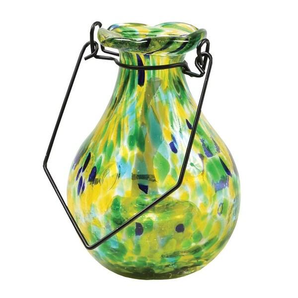 Solar Glass Flower Vase - Automatically Illuminates At Night - Spring Green