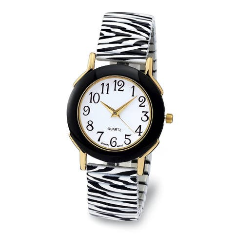Zebra Stretch Band Watch Marble Dial Easy Reader