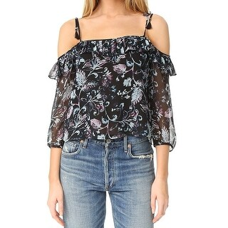 Ella Moss NEW Blue Womens Size Small S Silk Floral Cold Shoulder Blouse