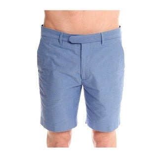 Todd Snyder Cotton Oxford Club Blue Shorts Flat Front