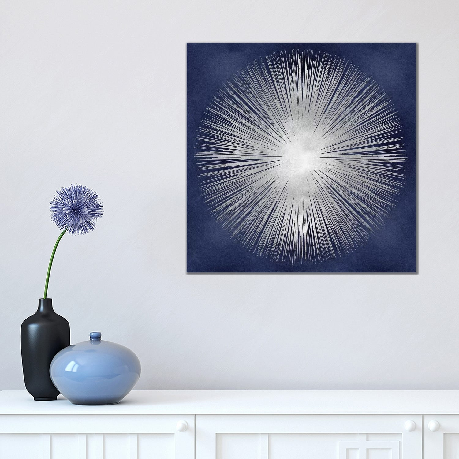 Icanvas Silver Sunburst On Blue I By Abby Young Canvas Print Overstock 15124180