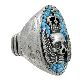 Large Pewter & Blue Bead Winged Skull Stretch Ring - White