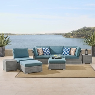 Corvus 8-piece Grey Wicker Patio Conversation Set with Blue Cushions