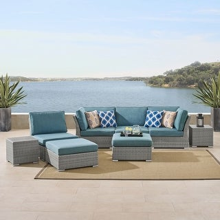 Link to Corvus 8-piece Grey Wicker Patio Conversation Set with Blue Cushions Similar Items in Outdoor Ottomans