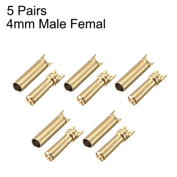 4mm Gold Plated Bullet Connectors 5x pairs