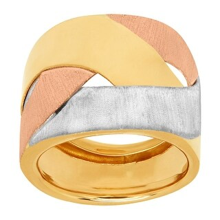 Just Gold Three-Tone Woven Dome Ring in 14K Yellow & Rose Gold with Rhodium Plate
