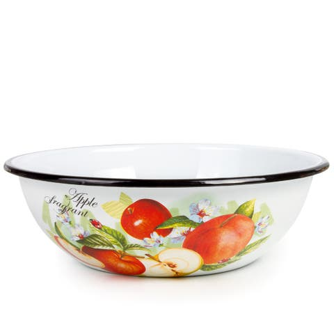 STP-Goods 4.2-Quart Black Rim Fragrant Apples Enamel on Steel Bowl