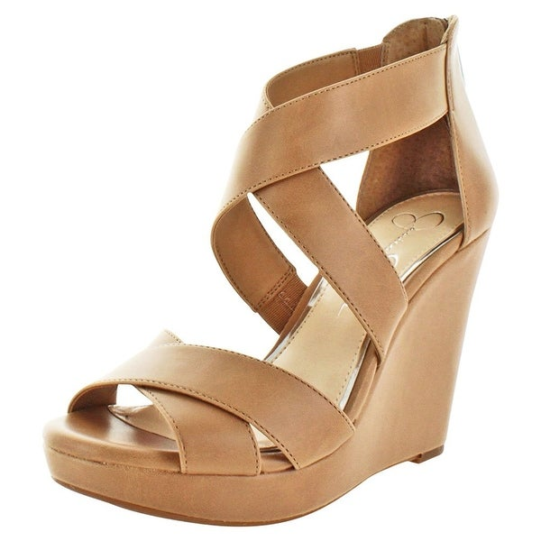 Jessica Simpson Womens Jadyn Leather Peep Toe Casual Platform Sandals