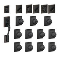 Schlage F600-ADD-GEO Addison Complete House Door Hardware Package with Georgian Interior Knobs and Single Cylinder Exterior