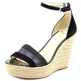Nine West Jutty Women Open Toe Leather Black Wedge Heel