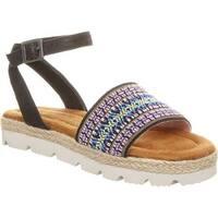 Bearpaw Girls' Kahala Ankle Strap Sandal Black II Textile