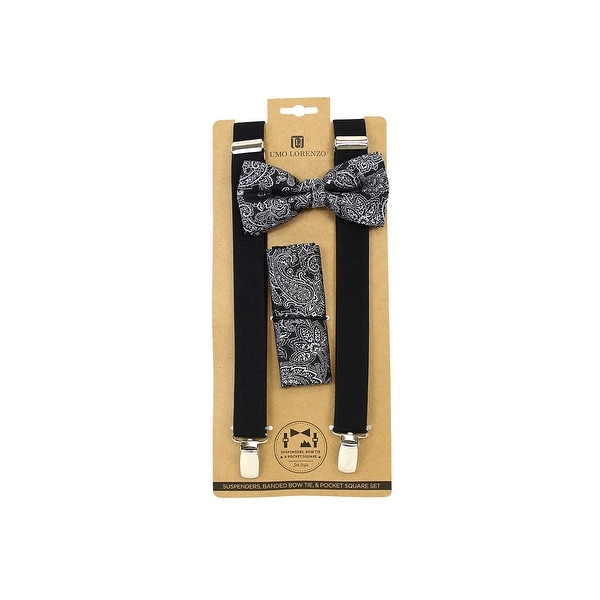 Men's Black Paisley 3 PC Banded Suspenders, Bow Tie and Hanky Sets FYBTHSU8 - One Size Fits most