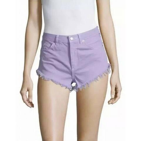 Topshop Lilac Womens US Fray-Hem Kiri Denim Shorts